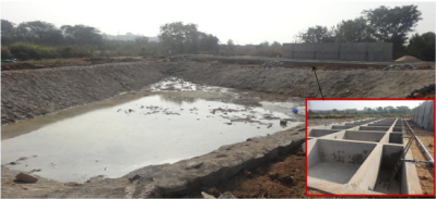 Figure1. Photographs of constructed wetlands (inset) and treated water storage tank being constructed at ICRISAT, Patancheru site, Hyderabad, India